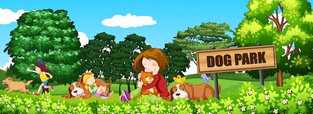 Personnes et chiens au parc à chiens Vecteur Premium