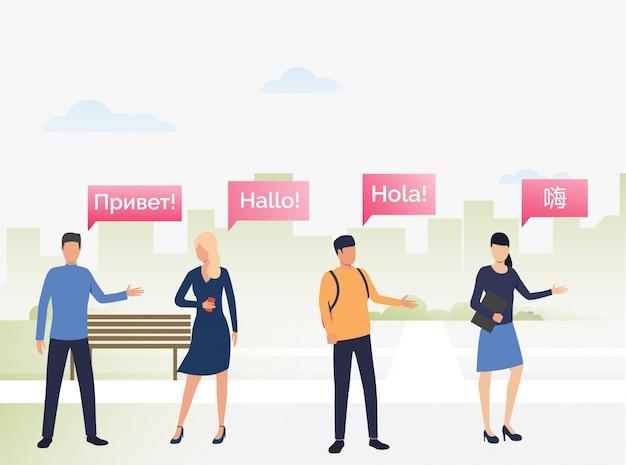Personnes Communiquant En Langues étrangères Vecteur gratuit