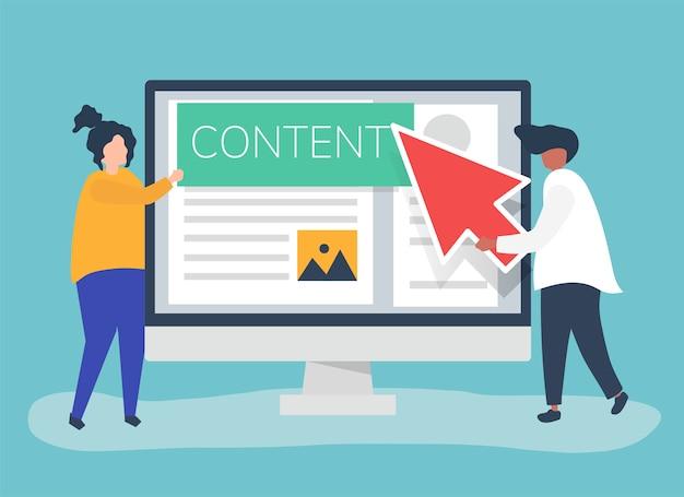 Personnes avec concept de création de contenu numérique Vecteur gratuit
