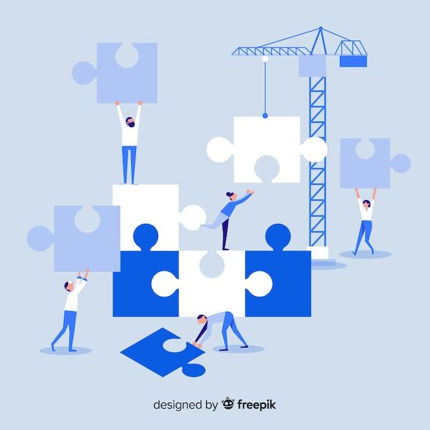 Personnes connectant fond de pièces de puzzle Vecteur gratuit