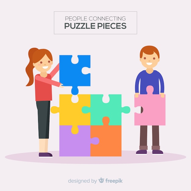 Personnes connectant illustration de pièces de puzzle Vecteur gratuit