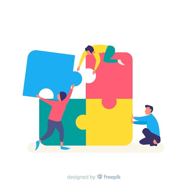 Personnes connectant des pièces de puzzle fond coloré Vecteur gratuit