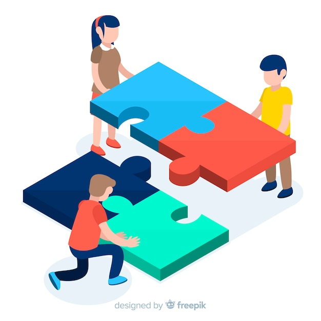 Personnes connectant des pièces de puzzle fond isométrique Vecteur gratuit