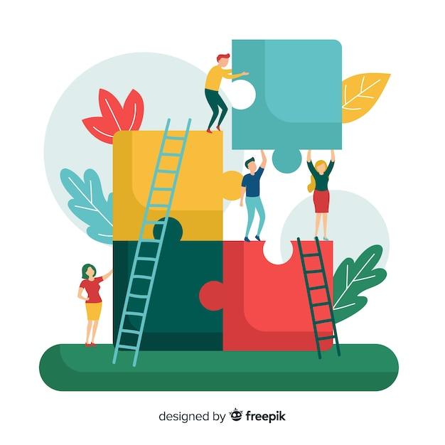 Personnes connectant des pièces de puzzle Vecteur gratuit