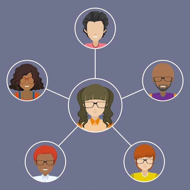 Personnes connectées les unes aux autres Vecteur gratuit
