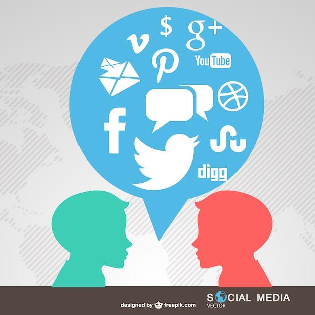 Personnes Connectées Symboles De Médias Sociaux Vecteur gratuit