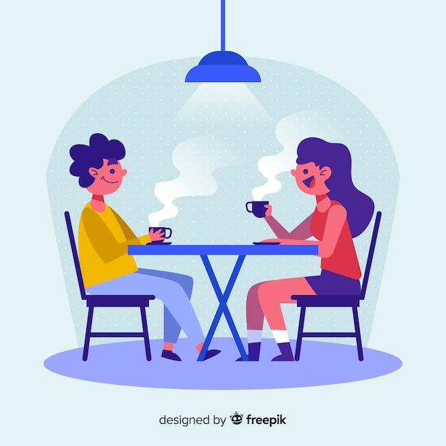 Personnes conversant tout en prenant un café Vecteur gratuit