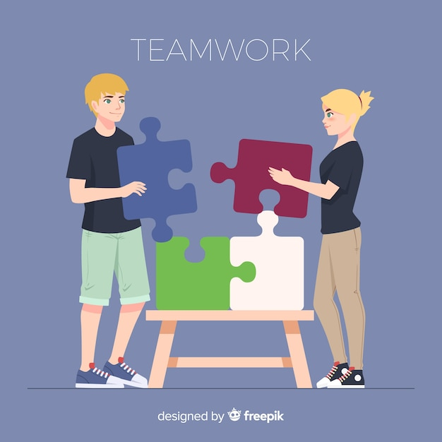 Personnes Coopérant Pour Faire Un Puzzle Vecteur gratuit