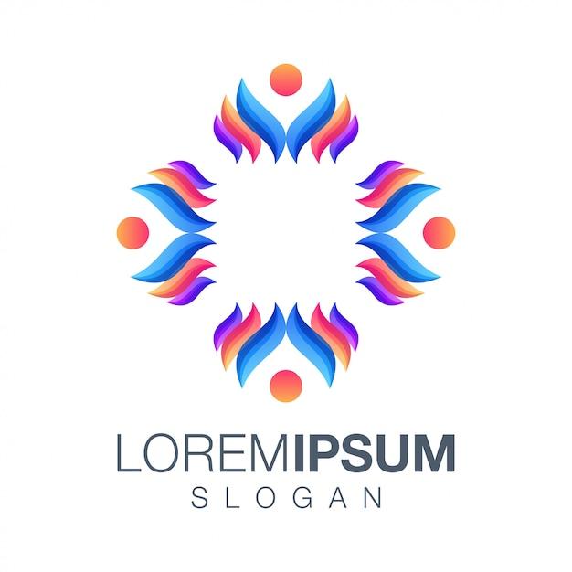 Personnes Couleur Logo Vectoriel Vecteur Premium