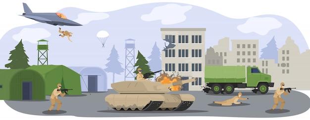 Personnes Dans La Base Du Camp Militaire, Soldats En Uniforme De Camouflage En Guerre Avec Pistolet, Char Militaire Et Illustration De Dessin Animé D'avion. Vecteur Premium