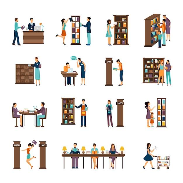 Personnes dans la bibliothèque icon set Vecteur gratuit