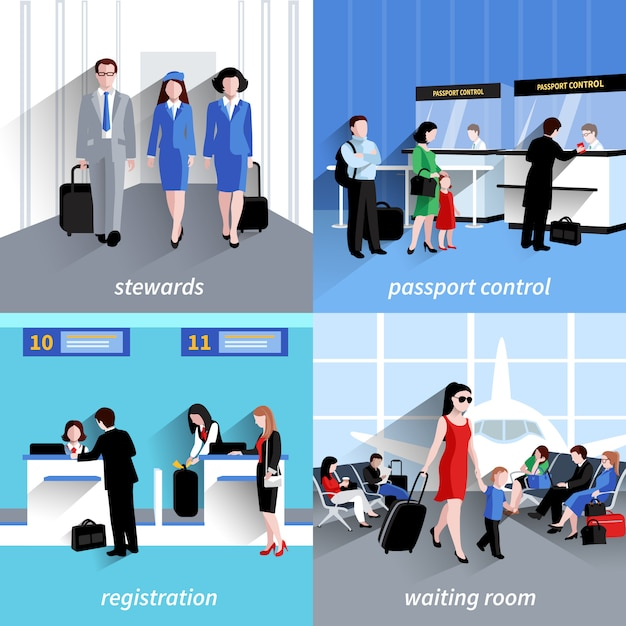 Personnes dans le concept de design de l'aéroport sertie d'icônes plates de contrôle des passeports et d'enregistrement Vecteur gratuit