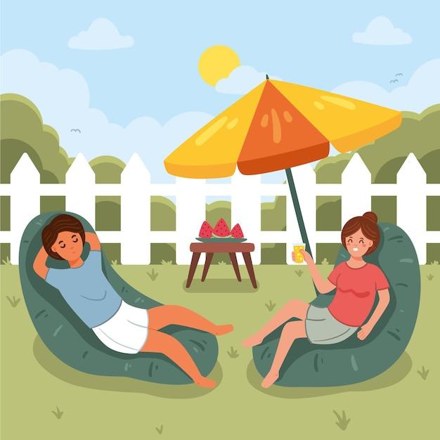 Personnes Dans Le Concept De Staycation D'arrière-cour Vecteur gratuit