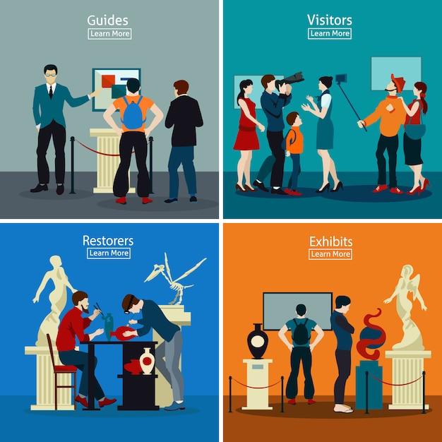 Personnes dans le musée et la galerie 2x2 design concept Vecteur gratuit
