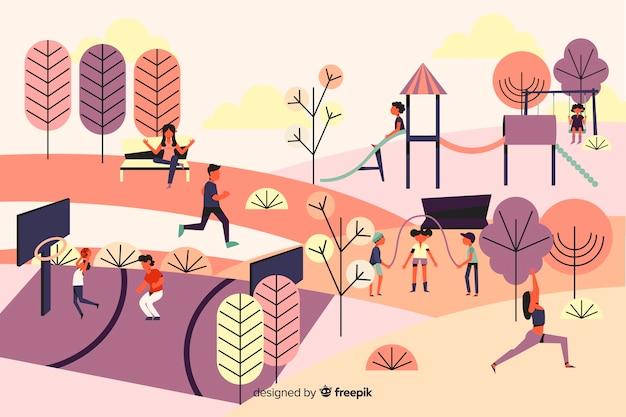 Personnes dans le parc avec des enfants, corde à sauter Vecteur gratuit