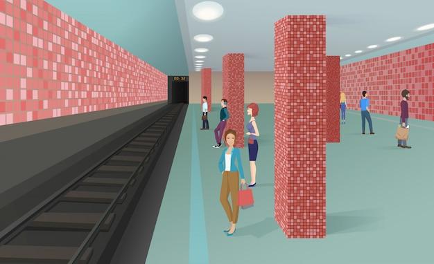 Personnes debout dans la station de métro Vecteur Premium