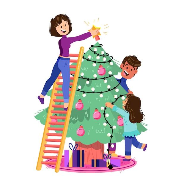 Personnes décorer un design plat arbre Vecteur gratuit