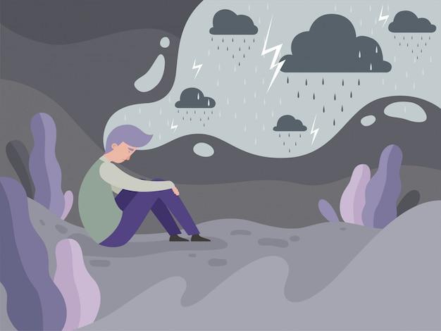 Les Personnes Déprimées. Solitude Seule Dans La Ville Homme Fatigué Concept De Temps Pluvieux Vecteur Premium
