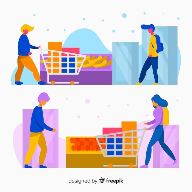 Personnes dessinées à la main dans le jeu de supermarché Vecteur gratuit