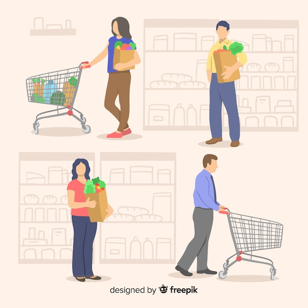 Personnes dessinées à la main dans le pack de supermarché Vecteur gratuit