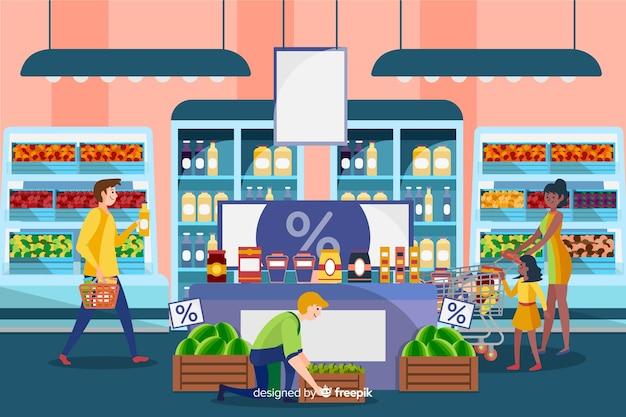 Personnes dessinées à la main dans le supermarché Vecteur gratuit