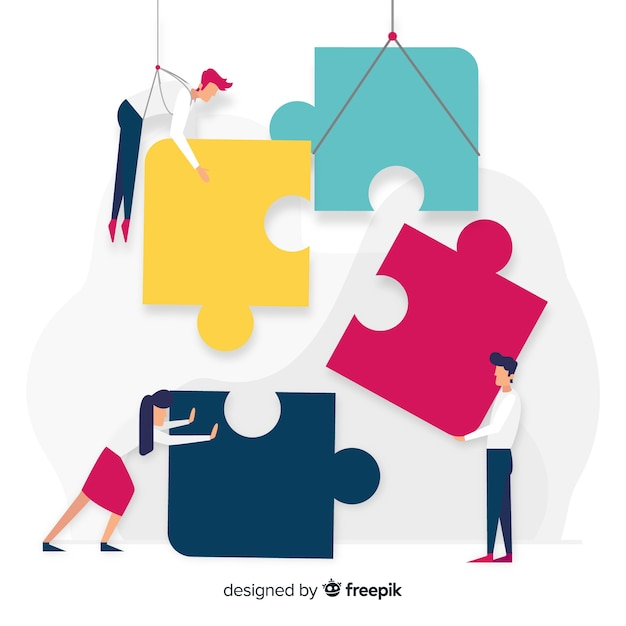 Personnes Dessinées à La Main Faisant Puzzle Illustration Vecteur gratuit