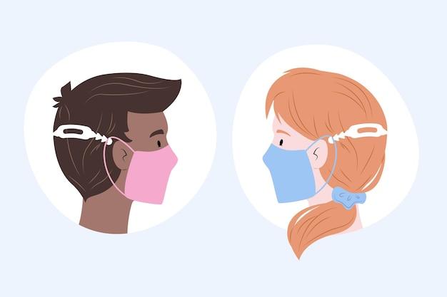Personnes Dessinées Portant Une Sangle De Masque Médical Réglable Vecteur gratuit