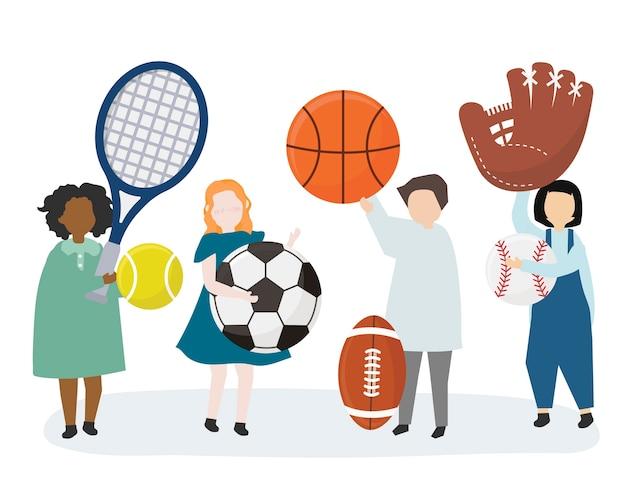 Personnes détenant divers équipements sportifs Vecteur gratuit