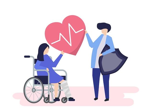 Personnes détenant des icônes d'assurance maladie Vecteur gratuit