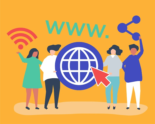 Personnes Détenant Des Icônes Du World Wide Web Vecteur gratuit