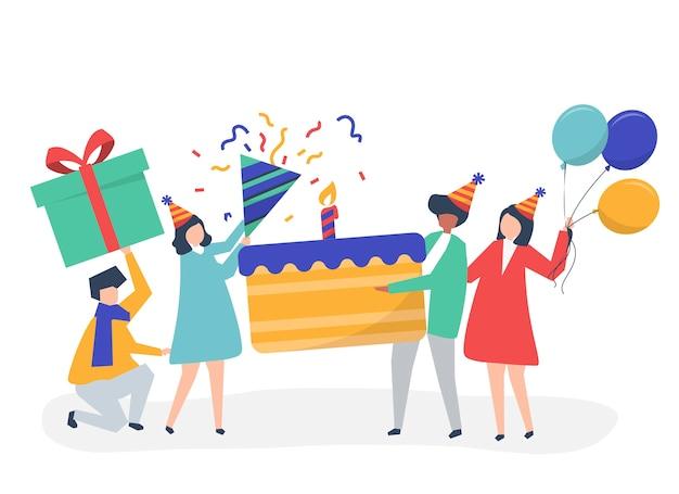 Personnes détenant des icônes de fête d'anniversaire Vecteur gratuit