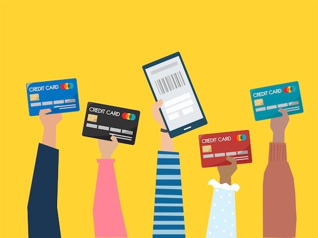Personnes détenant l'illustration de cartes de crédit Vecteur gratuit