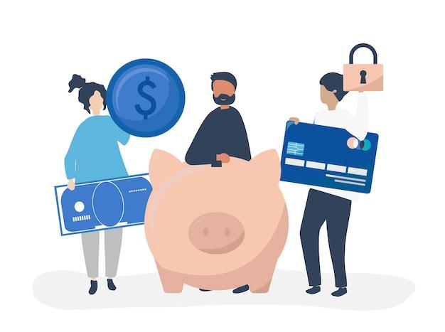 Personnes détenant des illustration d'icônes d'épargne et de sécurité Vecteur gratuit