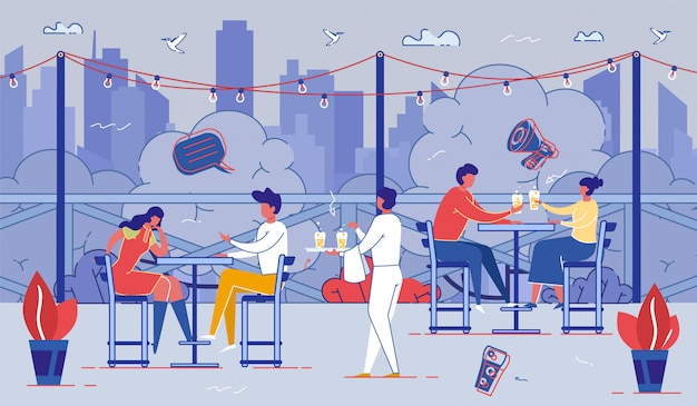 Personnes détendues assis à des tables au café en plein air Vecteur Premium