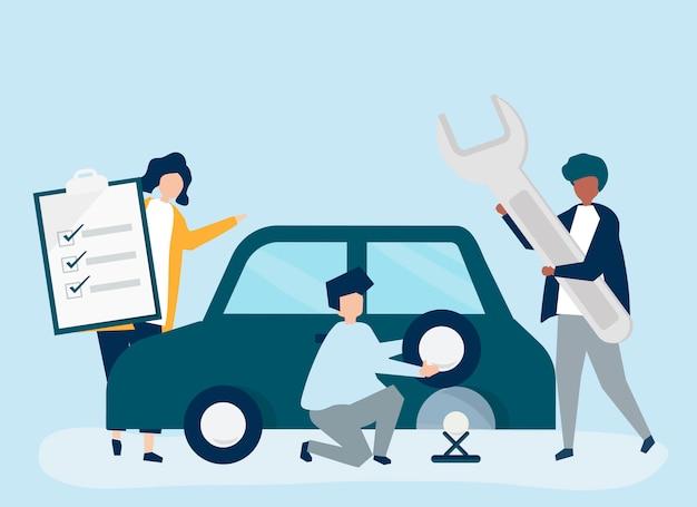 Personnes échangeant un pneu de voiture Vecteur gratuit