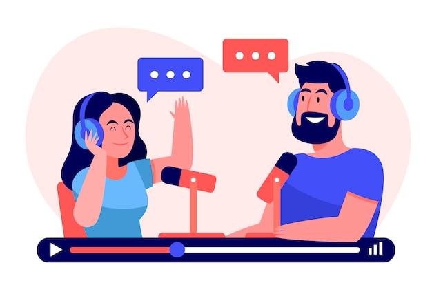 Personnes Enregistrant Un Podcast Ensemble Vecteur gratuit