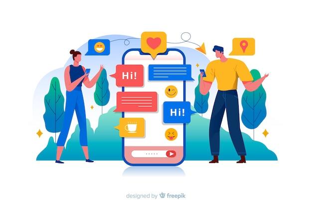 Personnes entourées d'illustration de concept d'icônes de médias sociaux Vecteur gratuit