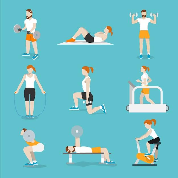 Personnes entraînant des vélos d'exercice et des tapis roulant cardio-fitness avec des presses de banque d'icônes collection plat illustration vectorielle isolée Vecteur gratuit
