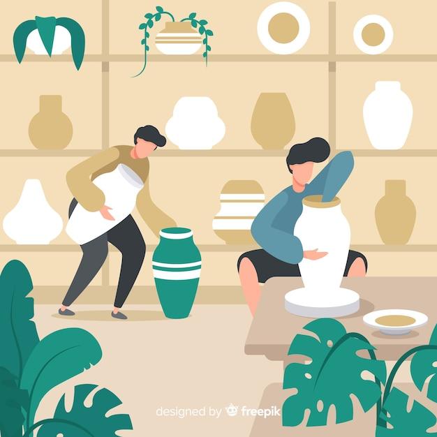 Personnes fabriquant un design plat de poterie Vecteur gratuit