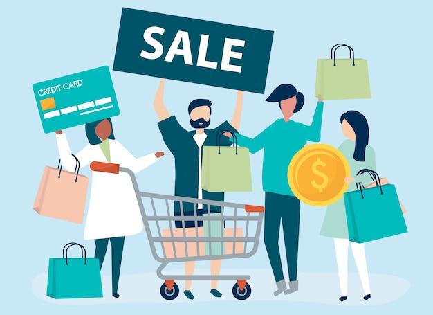 Personnes faisant des achats avec une carte de crédit Vecteur gratuit