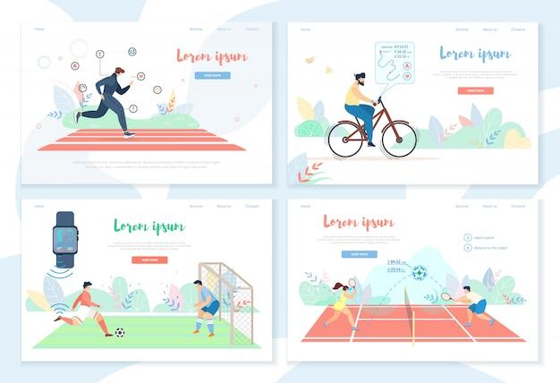 Personnes faisant de l'activité sportive avec des gadgets intelligents Vecteur Premium