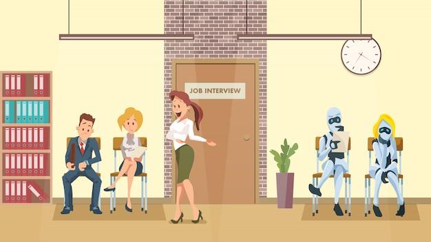 Personnes et file de robots à la porte d'un couloir de bureau Vecteur Premium