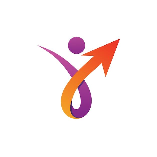 Personnes avec flèche logo vector Vecteur Premium