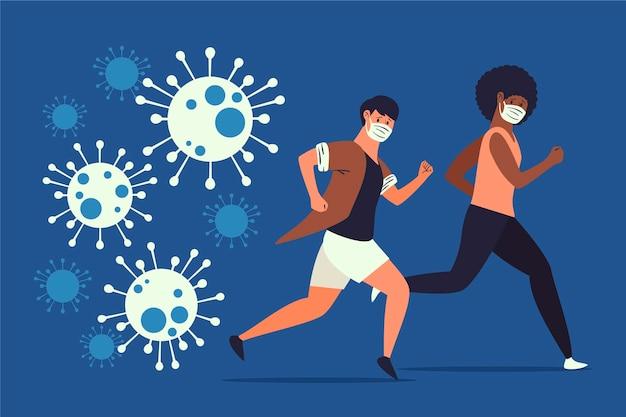 Des Personnes Fuyant Des Particules De Coronavirus Vecteur Premium