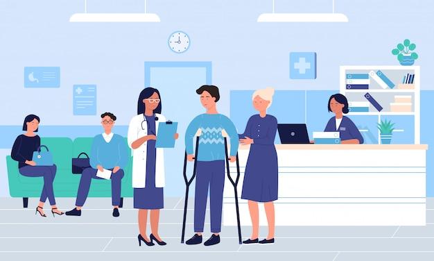 Personnes En Grande Illustration De Salle De Salle D'hôpital De Thérapie Intensive. Vecteur Premium