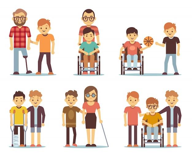 Les personnes handicapées et les amis les aident à définir. icônes de soins aux personnes handicapées. Vecteur Premium