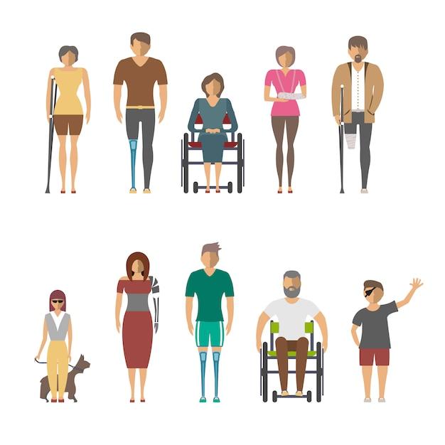 Les Personnes Handicapées Isolé Mis En Design Plat Vecteur Premium