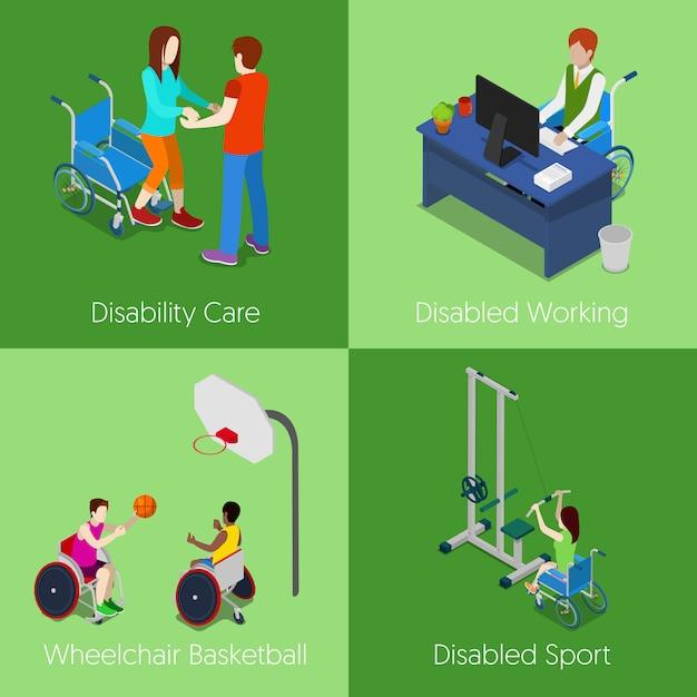 Personnes Handicapées Isométriques. Soins Aux Personnes Handicapées, Travail Handicapé, Basket-ball En Fauteuil Roulant, Sport Handicapé. 3d Illustration Plat Vecteur Premium