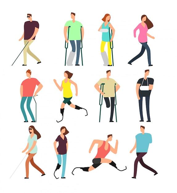 Personnes handicapées vector personnages de dessins animés définis. personnes handicapées isolées Vecteur Premium
