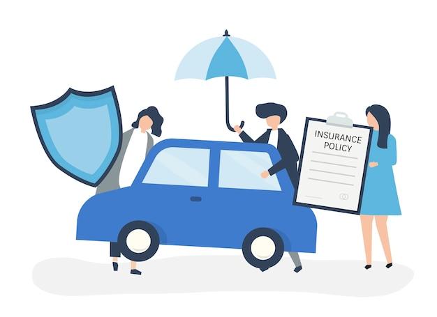 Personnes avec des icônes liées à l'assurance automobile Vecteur gratuit